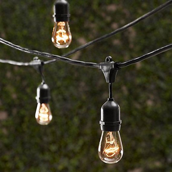 Heavy duty black string light set for indoor or outdoor use. Commercial Grade.  48 FT Length - 15 Sockets (36 from plug to first socket; 30 from socket to socket)  Plug in (for use with standard outlet), can connect up to an additional five strands to create a longer string. Uses E26 bulbs, up to 60W each.  Rubber loop hole over each socket makes hanging easier and ideal for party lighting and patio lighting. Price includes (15) 11w Edison bulbs.  These lights are beautiful and they work…