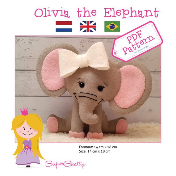 PDF Pattern Olivia the Elephant felt pattern by SuperSkattig