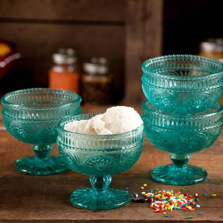 The Pioneer Woman Adeline 10 oz Glass Sundae Cups, Set of 4 - Walmart.com $15.68