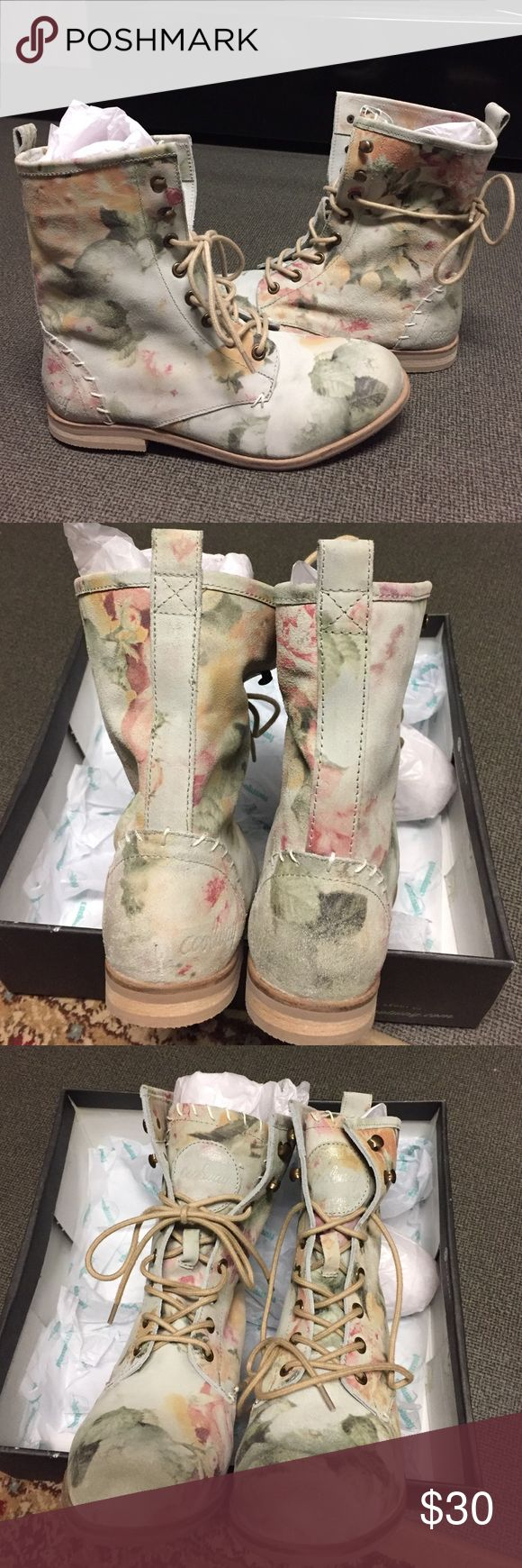 NEW NEVER WORN Coolway leather floral combat boots I got these in the wrong size by accident! Literally never worn. Made with cow leather. Light pastel floral color.  Feel free to make me an offer! Coolway Shoes Combat & Moto Boots