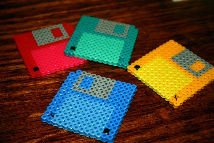 Bügelperlen: Untersetzer Floppy Disk