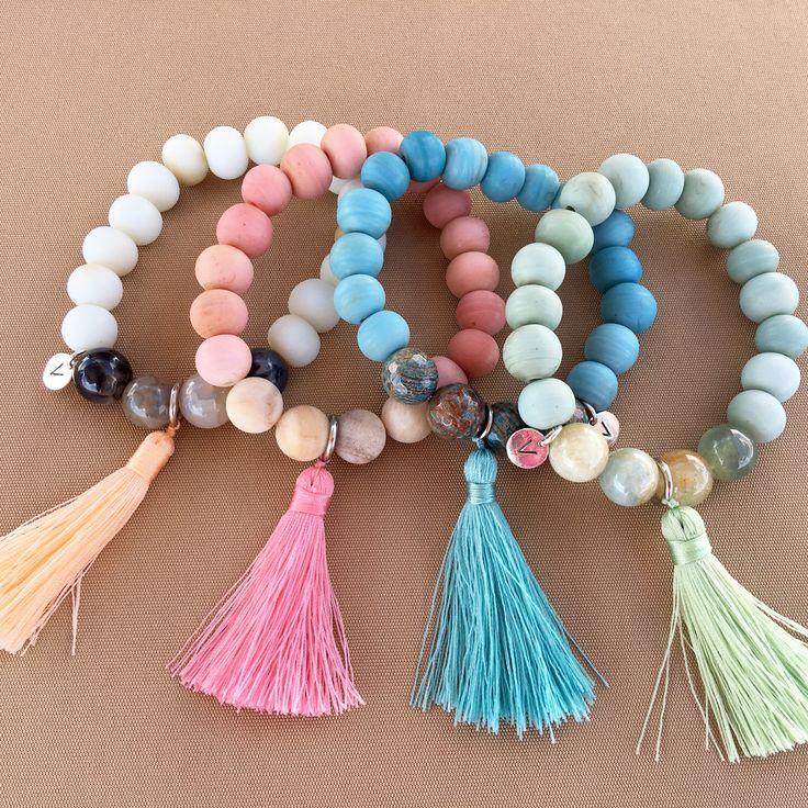 Fun and colourful bracelets with semi precious stones.