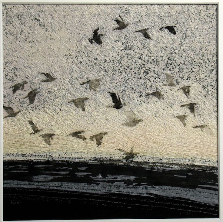 Kate Wells, Early Rise, 2013, 20 x 20cm, ink on calico with machine embroidery and collage
