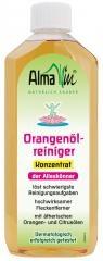 Alma Win Orangenöl-Reiniger / orange-oil cleaner / Konzentriert. Löst Kaugummi- und Farbflecken, Tinten- und Kugelschreiberflecken, Fette, Öle, Harze, Klebstoffe, Nagellack andere Flecken aus Textilien u.v.m. Bei trockenen Verschmutzungen mit Wasser verdünnen. Stark verdünnt (1 Spritzer in 5l Wasser): Reinigt alle wasserfesten Oberflächen. Vorsicht: bei lackierten Oberflächen und Kunststoff-Duschwänden können Oberflächen angelöst werden. Aus Textilien können Farben ausgewaschen werden.