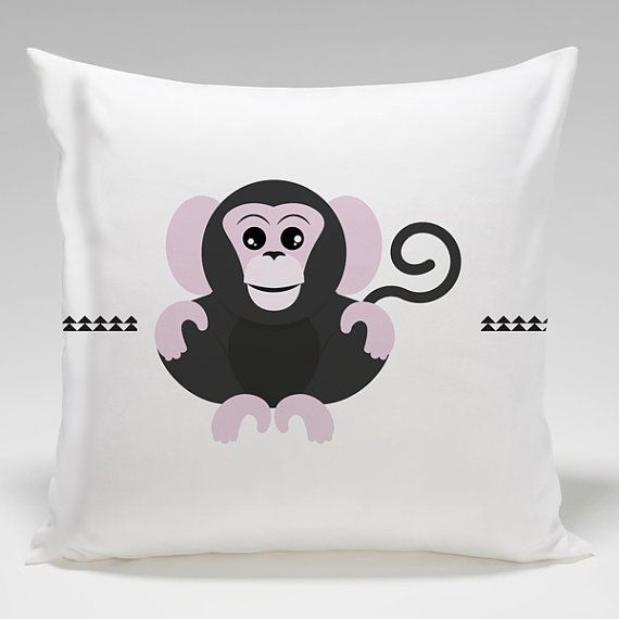 #monkey pillow case _ baby jungle animals collection _ #nursery