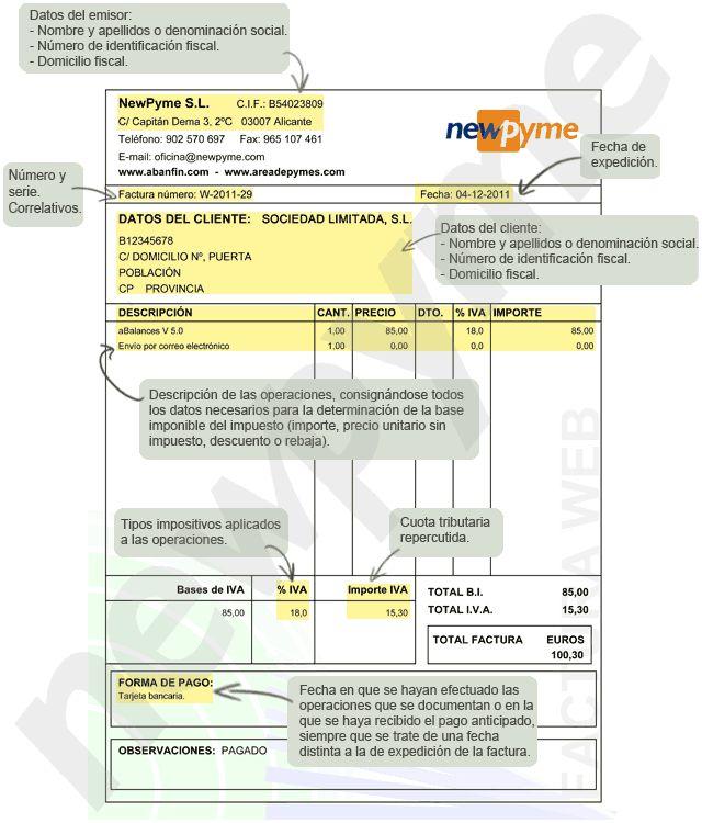 Principales requisitos de una factura