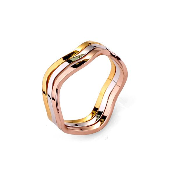 3pc colorful Triple Wave Band Ring Set 18K GP [cutering003] - $6.99 : Fashion jewelry promotion store,Supply all kinds of cheap fashion jewelry