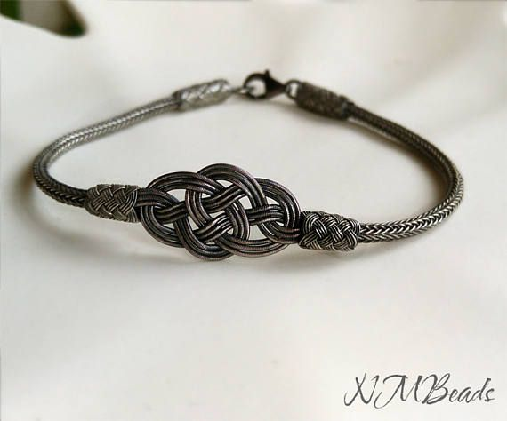 Mens Celtic Double Love Knot Bracelet Oxidized Fine Silver Woven Chain Nautical Everyday Jewelry Viking Knit Chain Gift For Him Kazaziye