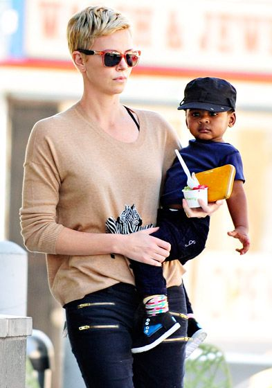 Charlize Theron and her son enjoy Pinkberry in LA