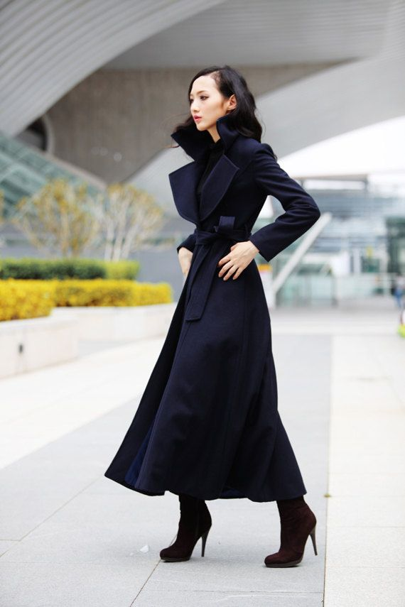Navy blue Coat Big Lapel Women Wool Winter Coat by Sophiaclothing