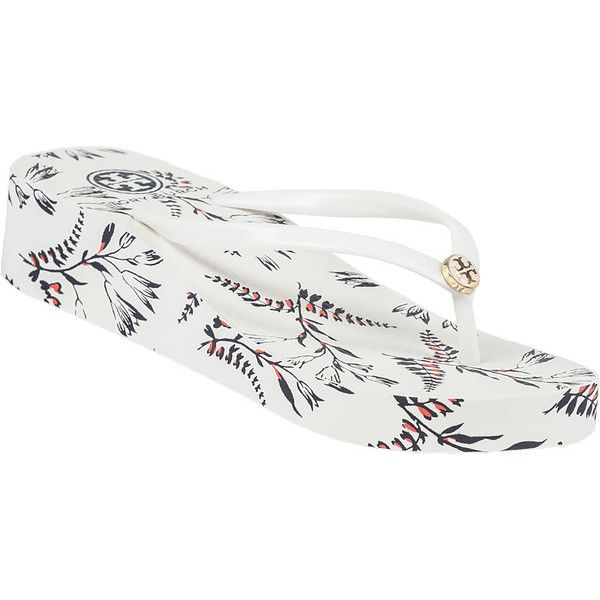 TORY BURCH Thandie Wedge Flip Flop Ivory ($60) ❤ liked on Polyvore featuring shoes, sandals, flip flops, white, ivory wedge flip flops, white wedge sandals, floral wedge sandals, floral sandals and floral print sandals