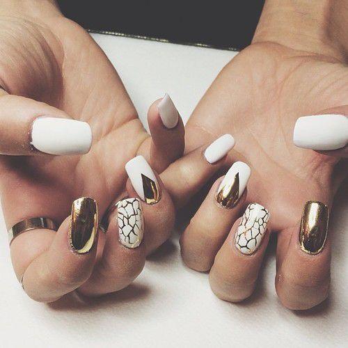 white & gold nails