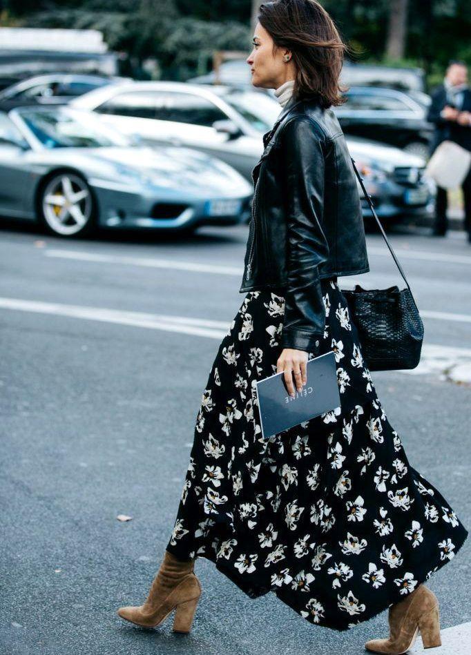 Longue robe fleurie sur fond noir + perfecto noir = le bon mix