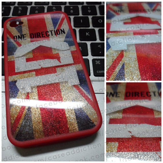 GLITTERY 1D ONE DIRECTION logo vintage union jack by caseaddiction, $29.00 . someone teach me how to make this