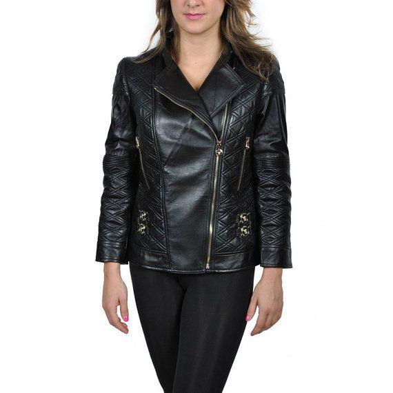 Authentic Vintage NWT Versace Black Leather Biker Jacket w/Detailed Stitch Leather Design    Detailed stitched leather design on shoulders, arm