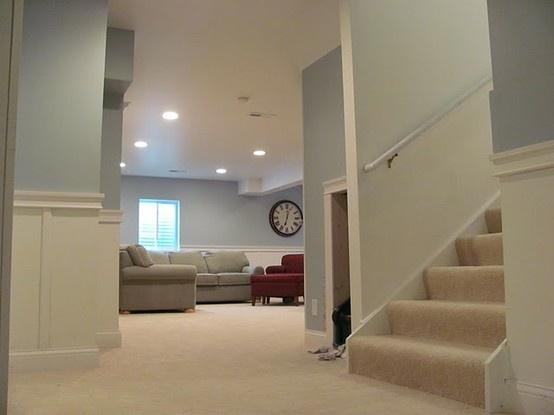 basement color: Behr River, Basement Remodel, River Rocks, Wall Color, Basement Reno, Finished Basements, Paint Colors, Family Room, Basement Ideas