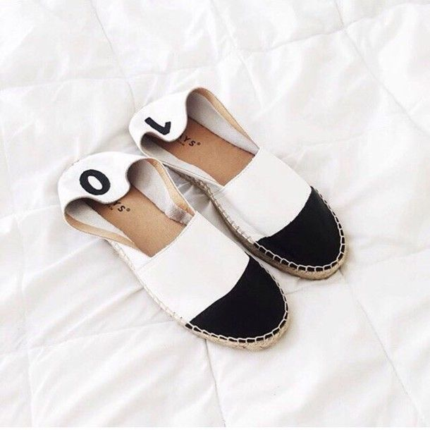 Shoes: espadrilles summer leather summer black and white