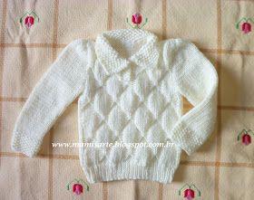 Olá!  Os bebês não precisam vestir somente casaquinhos. Com um modelo deste, podem até parecer gente grande!  Este teci para menina. A frent...