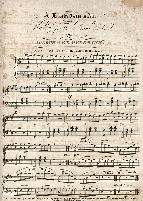 All sizes - A Favorite German Air, Joseph Herrmann, Copyright 1833 aged vintage sheet music