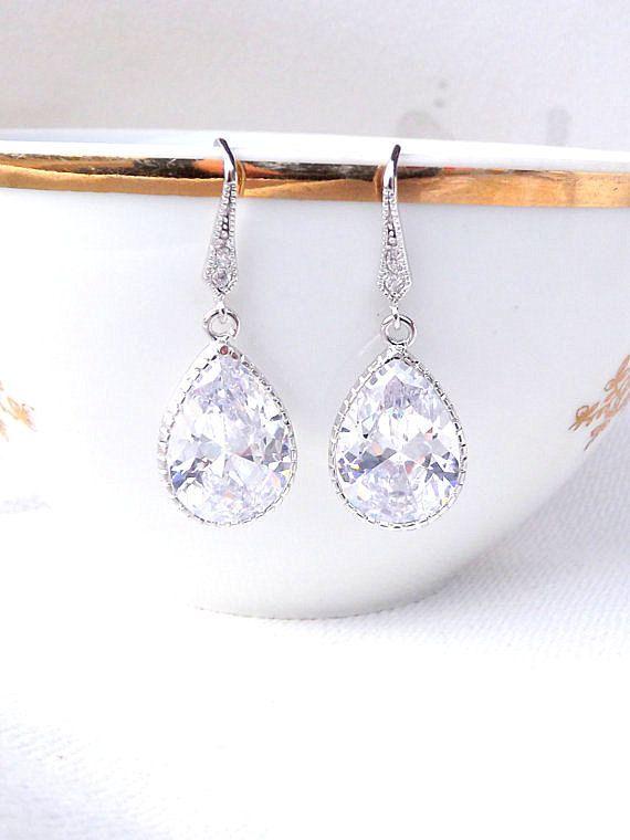 Crystal Clear Earrings Cubic Zirconia Tear Drop Dangle Bridal Jewelry