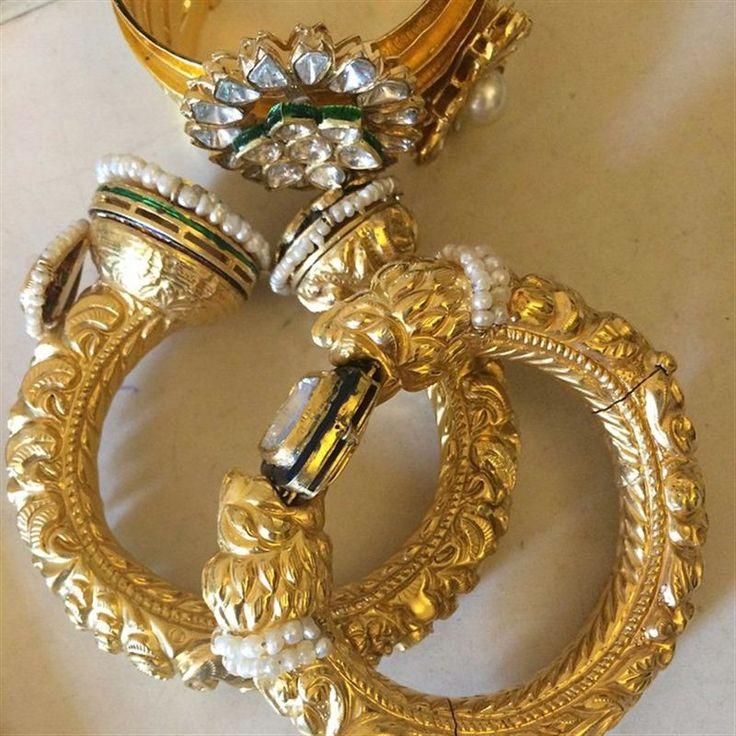 Behind the scenes in Mumbai, these three gold bangles from Falguni Mehta