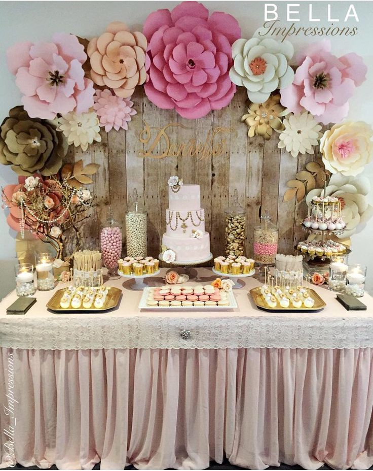 IG  @bella_impressions & @kitoscakes  Blush & Gold Dessert table – paper flower backdrop – cakes – name sign – linen – cupcakes –