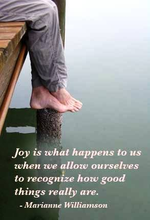 Joy is what happens to us when we allow ourselves to recognize how good things really are - Marianne Williamson