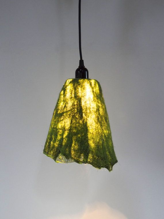 Handfelted Lampshade, Emerald Green Hanging Lamp, Felted Green Wool U0026  Fabric With Silver Yarn