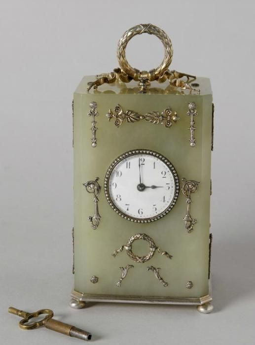 Desk clock Russia, Saint-Petersburg, last quarter of the ХIХth century. Faberge firm, craftsman M. Perkhin. Silver, bowenite, metal, pearls; casting, enamel, embossing, stone carving Moscow Kremlin Museums: - The World of Faberge
