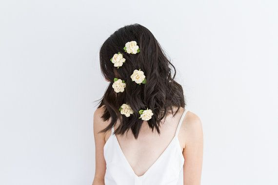 creamy yellow rose hair pins set of 3 // bridesmaid hair accessory, flower bobby pins, rustic flowers, wedding bobbies