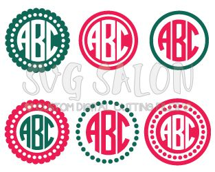Free Circle Monogram Cutting File Set in SVG, EPS, DXF, JPEG, and PNG for Cricut and Silhouette