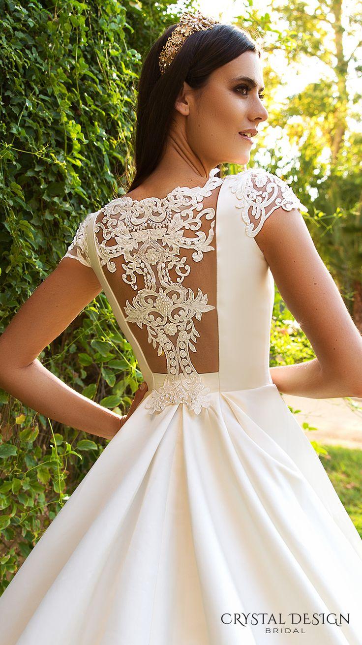crystal design 2017 bridal cap sleeves bateau neckline simple clean classic ball gown a  line wedding dress lace back royal train (medelin) zbv