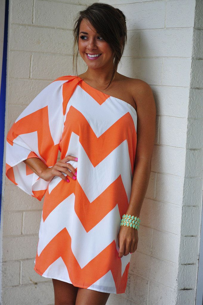 One Shoulder Chevron Dress