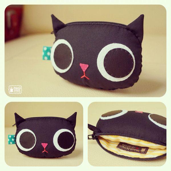 Black Kitty coin purse by mochikaka, via Flickr - handbag, brahmin, shoulder, bags, louis vuitton, betsy johnson purse *ad