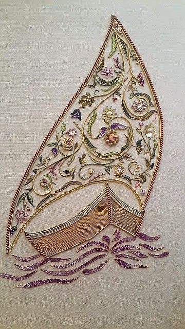 Delightful embroidered sail boat...