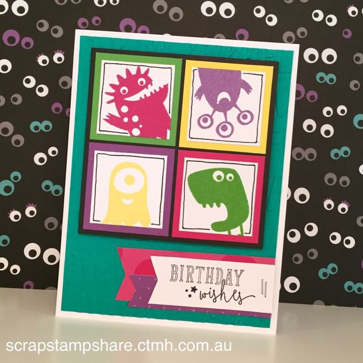 birthday wishes card by Denise Tarlinton. CTMH Jeepers Creepers