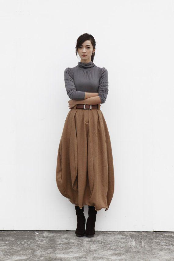 Maxi Skirt Lagenlook Woollen Skirt Sexy Bud door Sophiaclothing