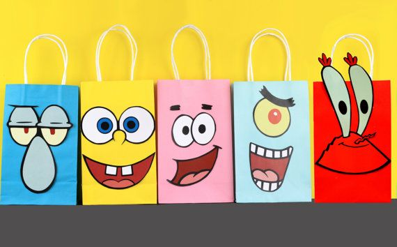 """Decorate your Sponge Bob Square Pants Party with these cute faces on your Favor Bags. You may print as many as you need. Use them to create your own favor bags or centerpieces. This file includes: 2 Sponge Bob Square Pants 2 Patrick the Starfish 2 Squidward 2 Plankton 2 Mr. Crabs Instruction Sheet (Bags are not included)  Instructions: 1) Purchase the file 2) Download the file: Click """"You"""" then click """"Purchases and Reviews"""" then download 3) Print the File (On White Card stock paper) 4) Cut…"""