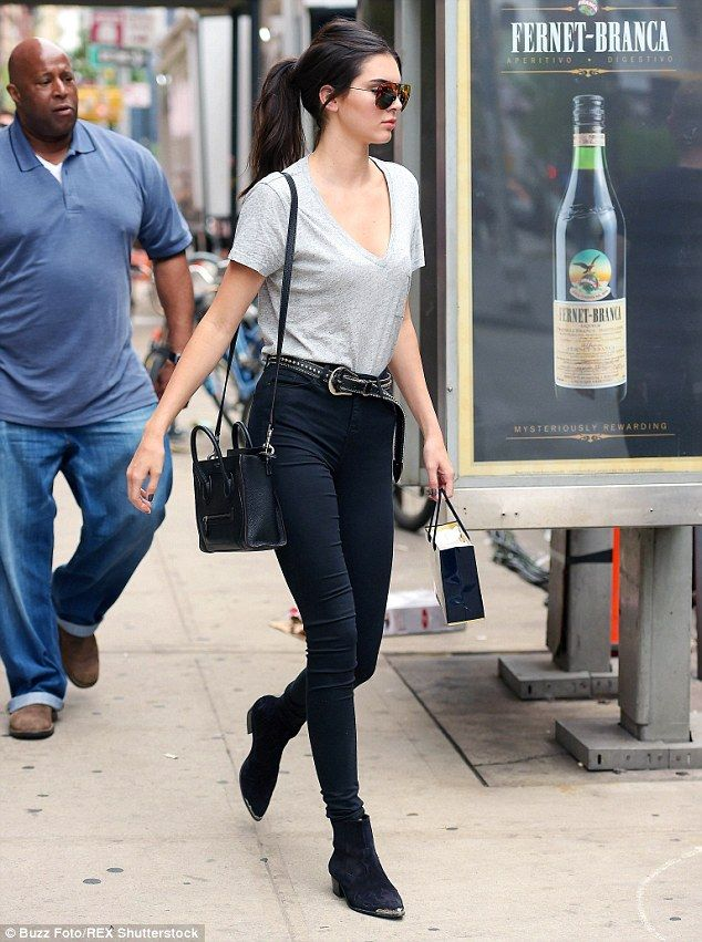 Laid-back: Usually known for her high fashion style, Kendall Jenner showed off a casual lo...