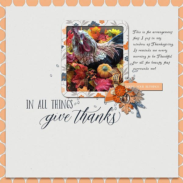 A lovely way to show of my Thanksgiving window display.  I used Designed by Soco part for the 52 Inspiration and friends No. 46, Giving Thanks