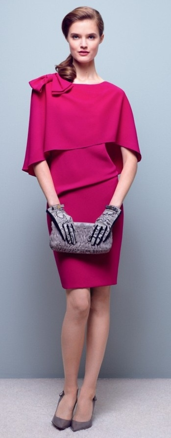 Paule ka ~ <3  What can we say? Beautiful color and cut. Pretty, modest, perfect for work, a wedding, etc. LOVE the gloves. Totally #Annienymotee women's #undershirts worthy. ;)