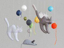 Mobile Katzen und Maus mit Wollknäuel Kätzchen