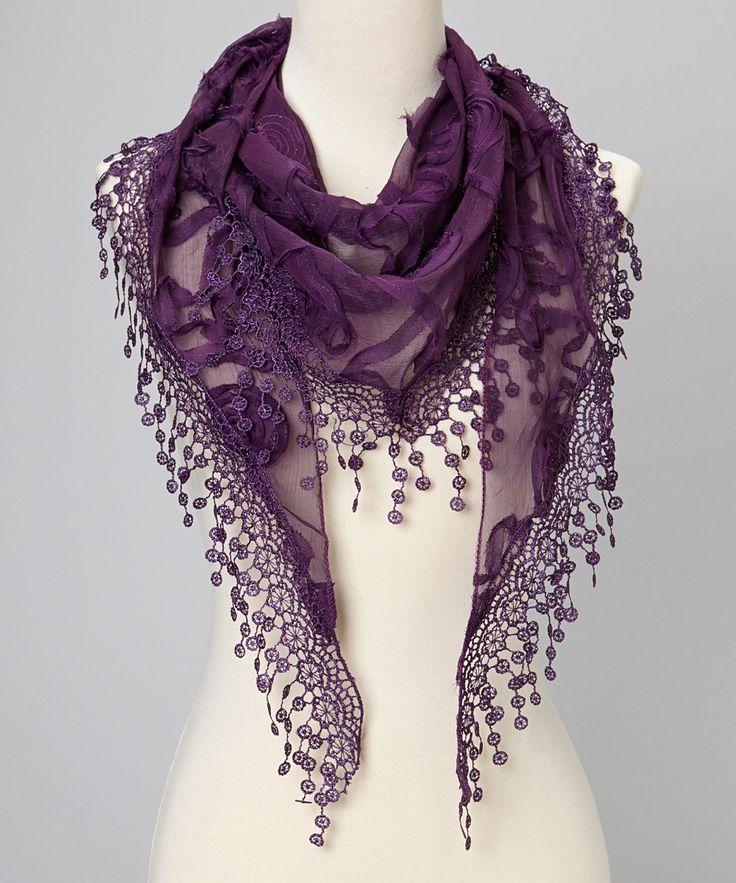 Purple Flower Lace Silk-Blend Scarf | zulily