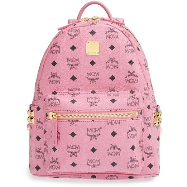 MCM 'Small Stark' Side Stud Backpack ($660) ❤ liked on Polyvore featuring bags, backpacks, accessories, mcm, purses, pink, pocket bag, pink bag, ipad backpack and pocket backpack