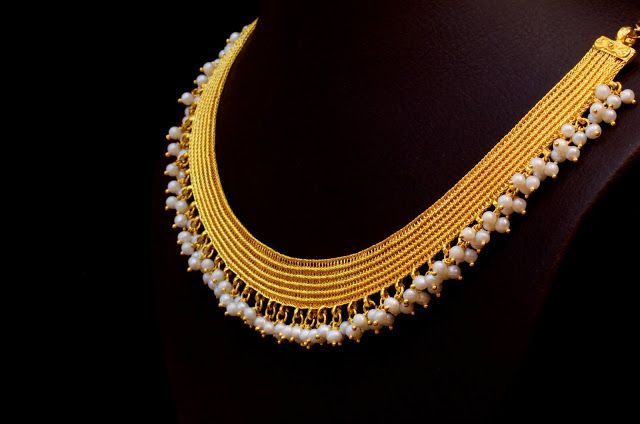 Gold kasavu mala with pearls weight 46 Grams. For details contact…