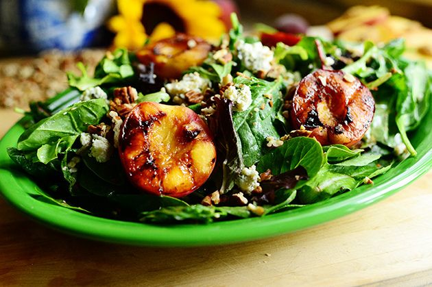 Grilled Peaches, Pecans, and Blue Cheese Salad
