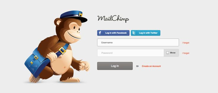 Login from Mailchimp. 'I forgot' buttons for both username and password. Clear and easy to follow.