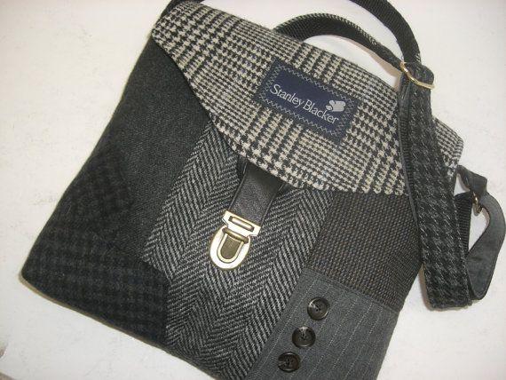 Sac à main recyclé, noir, gris, sac à main pour hommes costume manteau, sac à main bandoulière sangle