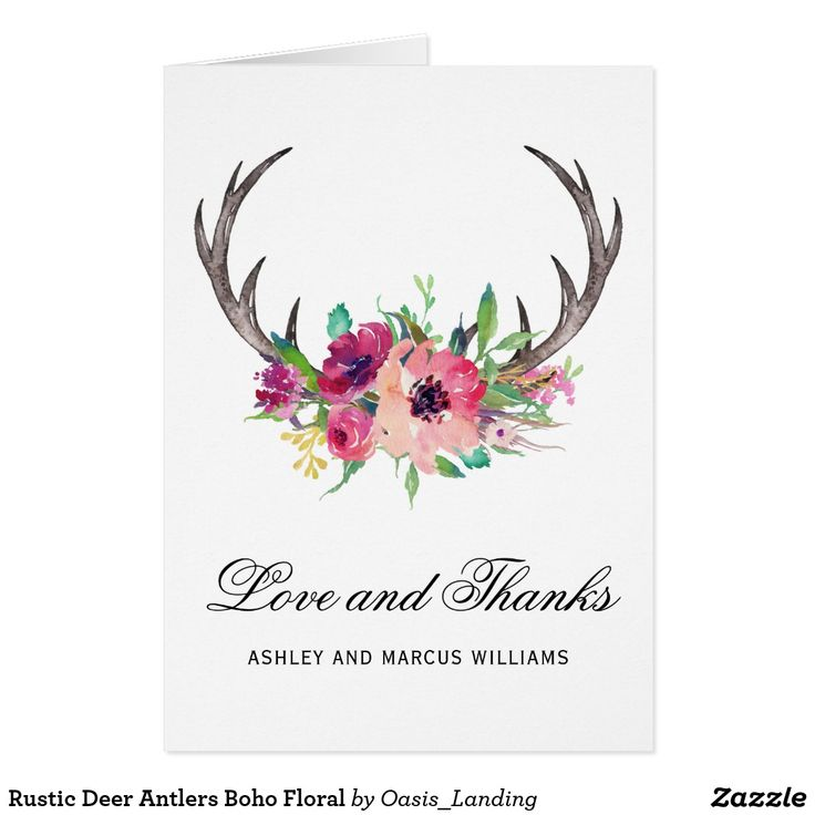 Rustic Deer Antlers Boho Floral Card A charming rustic thank you card featuring boho-style rustic deer antlers embellished with a watercolor floral bouquet in shades of pink, magenta and purple. Customize with your names or other text.
