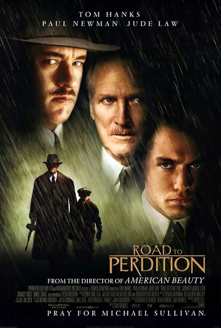Road to Perdition movie poster. This movie got me thinking that The Godfather needs remade with Stanley Tucci as the Don. His Frank Nitti portrayal is chilling.